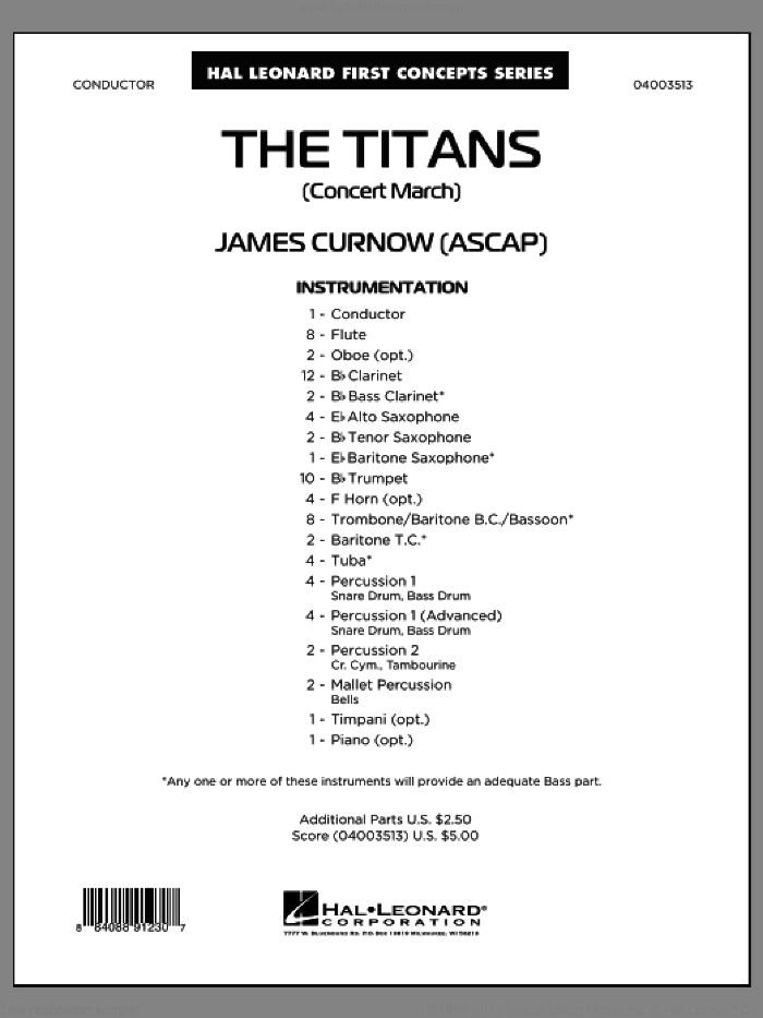 The Titans (Concert March) (COMPLETE) sheet music for concert band by James Curnow, intermediate. Score Image Preview.