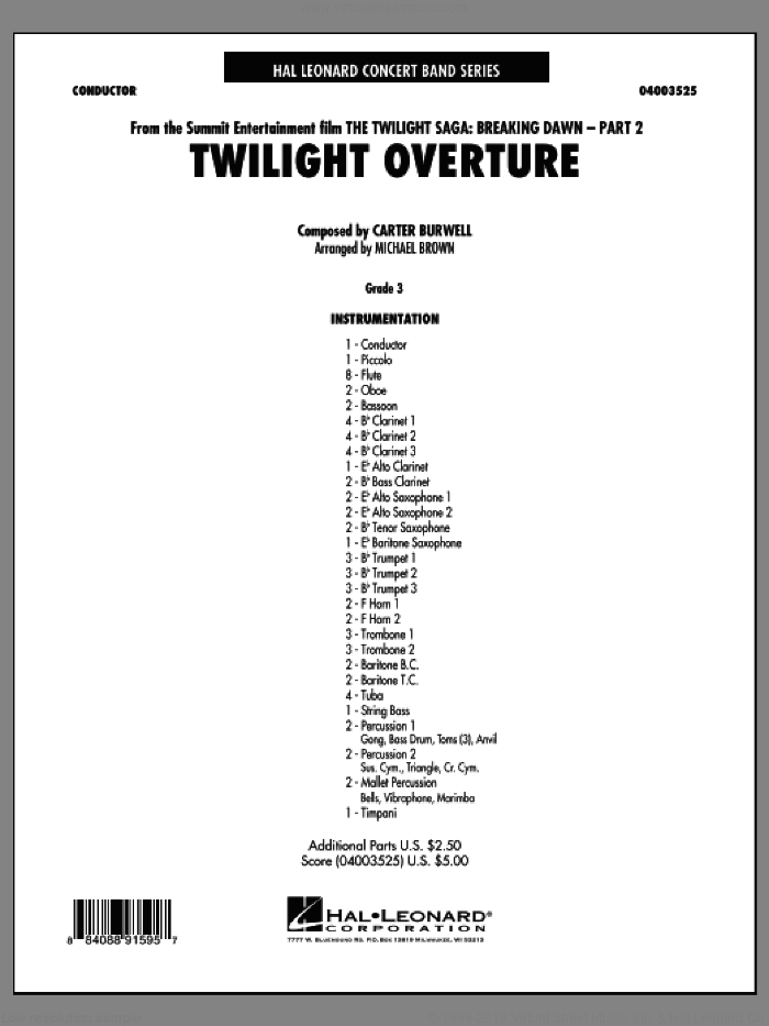 Twilight Overture (from The Twilight Saga: Breaking DawnA�Part 2) sheet music for concert band (full score) by Carter Burwell and Michael Brown. Score Image Preview.