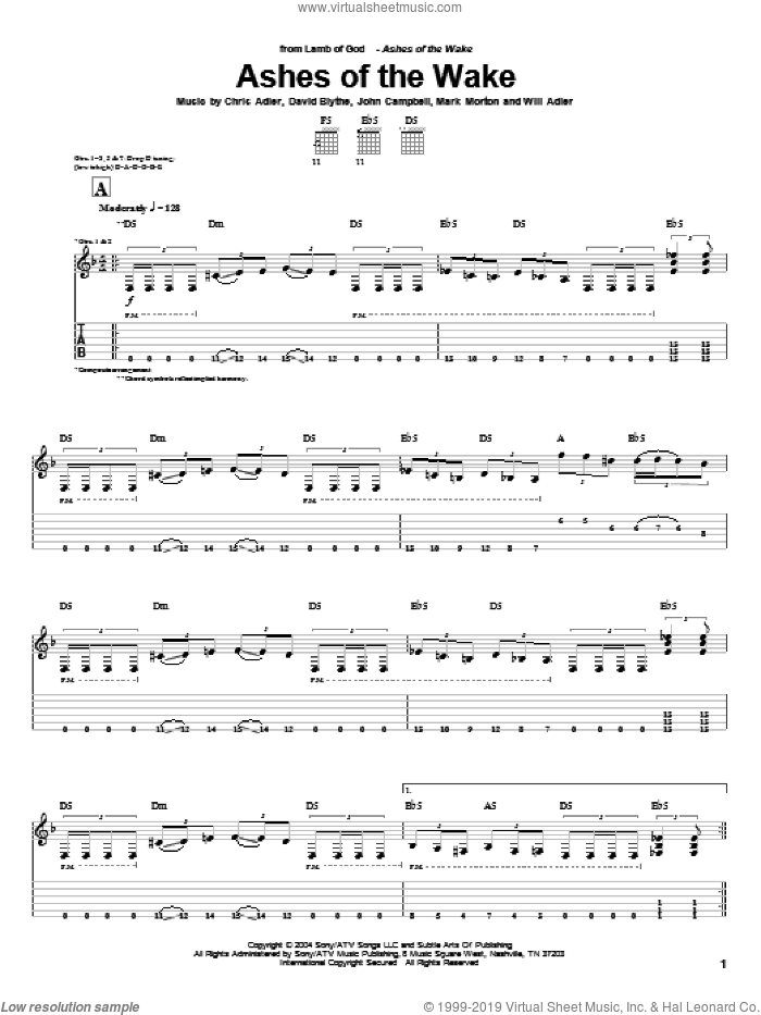 Ashes Of The Wake sheet music for guitar (tablature) by Lamb Of God, Chris Adler, David Blythe, John Campbell, Mark Morton and Will Adler, intermediate. Score Image Preview.