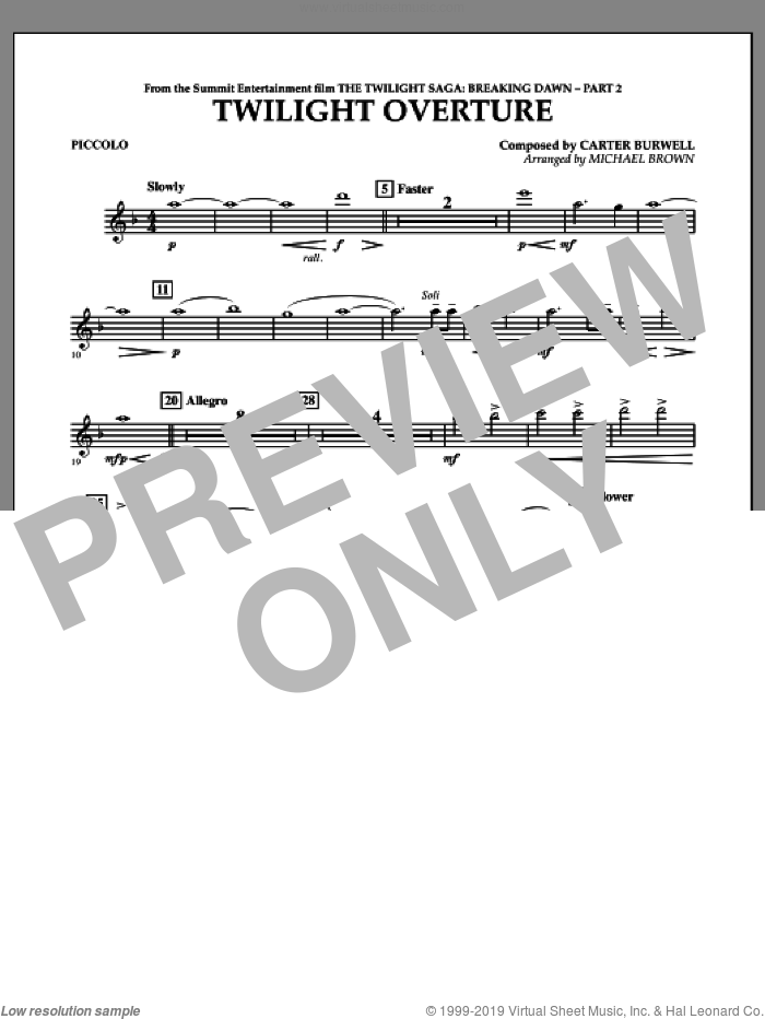 Twilight Overture (from The Twilight Saga: Breaking DawnA�Part 2) sheet music for concert band (piccolo) by Carter Burwell and Michael Brown, intermediate skill level