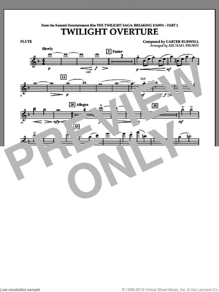 Twilight Overture (from The Twilight Saga: Breaking DawnA�Part 2) sheet music for concert band (flute) by Carter Burwell and Michael Brown, intermediate skill level