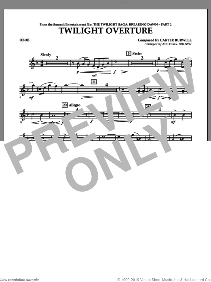 Twilight Overture (from The Twilight Saga: Breaking DawnA�Part 2) sheet music for concert band (oboe) by Carter Burwell and Michael Brown, intermediate skill level