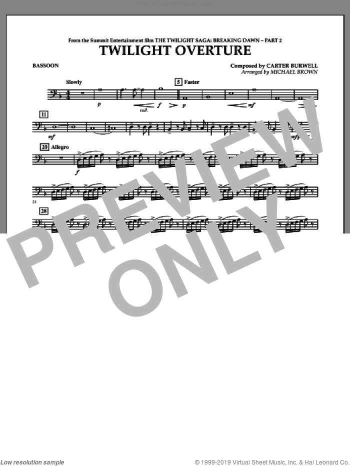 Twilight Overture (from The Twilight Saga: Breaking DawnA�Part 2) sheet music for concert band (bassoon) by Carter Burwell and Michael Brown, intermediate skill level