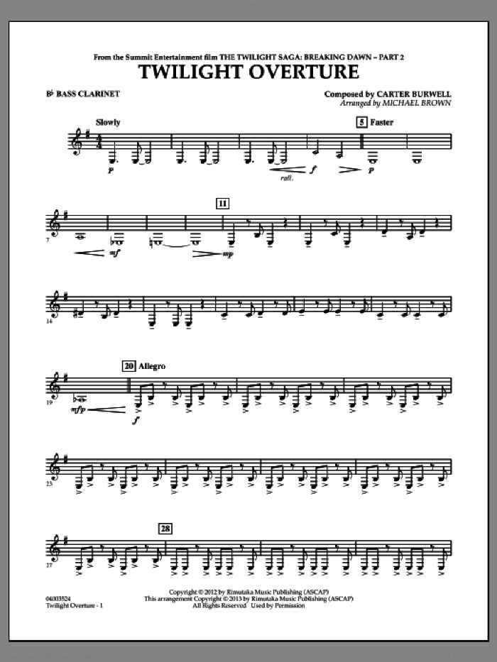 Twilight Overture (from The Twilight Saga: Breaking DawnA�Part 2) sheet music for concert band (Bb bass clarinet) by Carter Burwell and Michael Brown, intermediate skill level