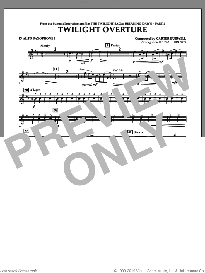 Twilight Overture (from The Twilight Saga: Breaking DawnA�Part 2) sheet music for concert band (Eb alto saxophone 1) by Carter Burwell and Michael Brown, intermediate skill level
