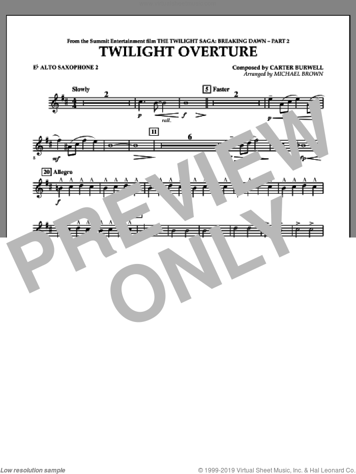 Twilight Overture (from The Twilight Saga: Breaking DawnA�Part 2) sheet music for concert band (Eb alto saxophone 2) by Carter Burwell and Michael Brown, intermediate skill level