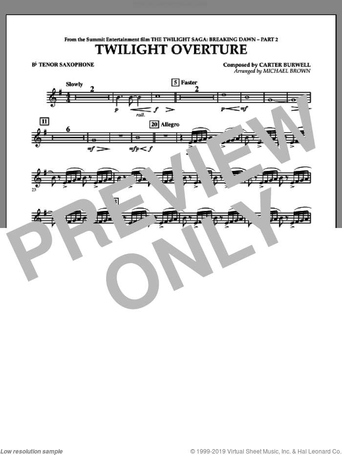 Twilight Overture (from The Twilight Saga: Breaking DawnA�Part 2) sheet music for concert band (Bb tenor saxophone) by Carter Burwell and Michael Brown, intermediate skill level