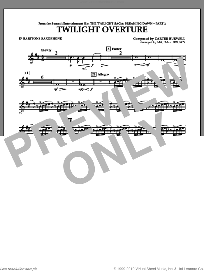 Twilight Overture (from The Twilight Saga: Breaking DawnA�Part 2) sheet music for concert band (Eb baritone saxophone) by Carter Burwell and Michael Brown, intermediate skill level