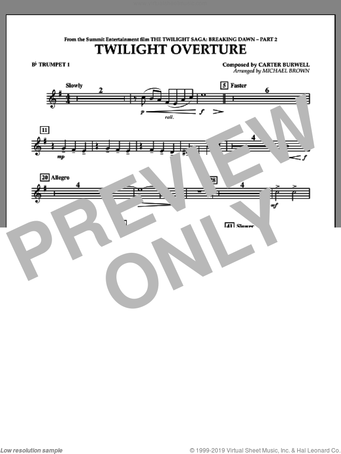 Twilight Overture (from The Twilight Saga: Breaking DawnA�Part 2) sheet music for concert band (Bb trumpet 1) by Carter Burwell and Michael Brown, intermediate skill level