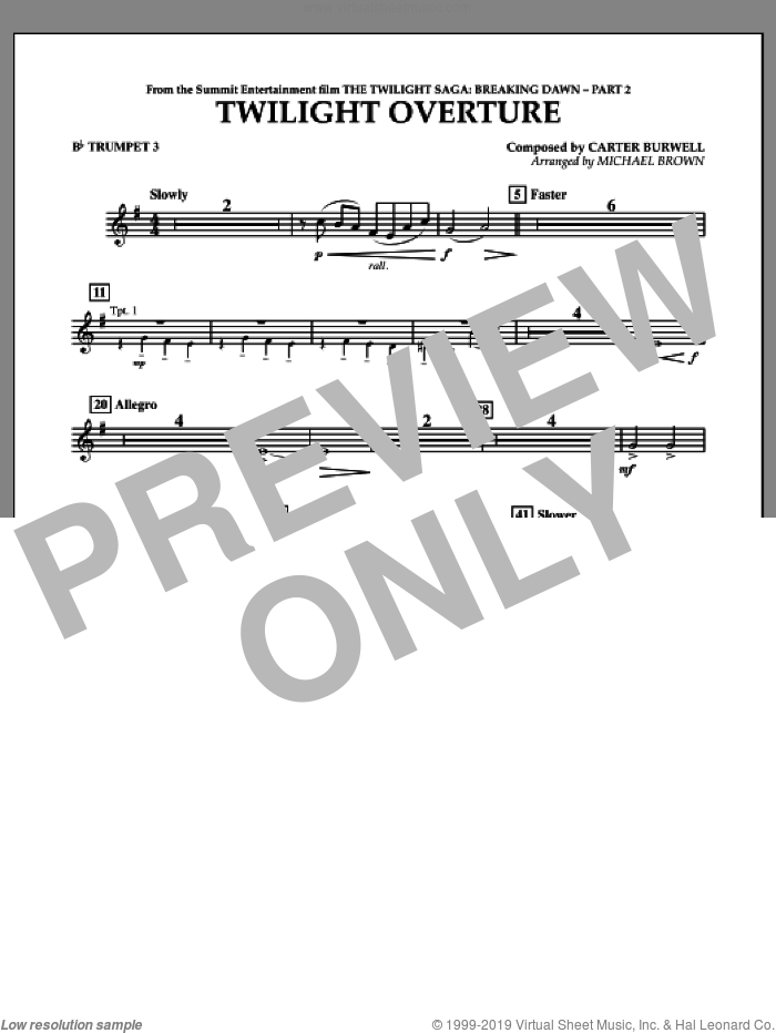Twilight Overture (from The Twilight Saga: Breaking DawnA�Part 2) sheet music for concert band (Bb trumpet 3) by Carter Burwell and Michael Brown, intermediate skill level
