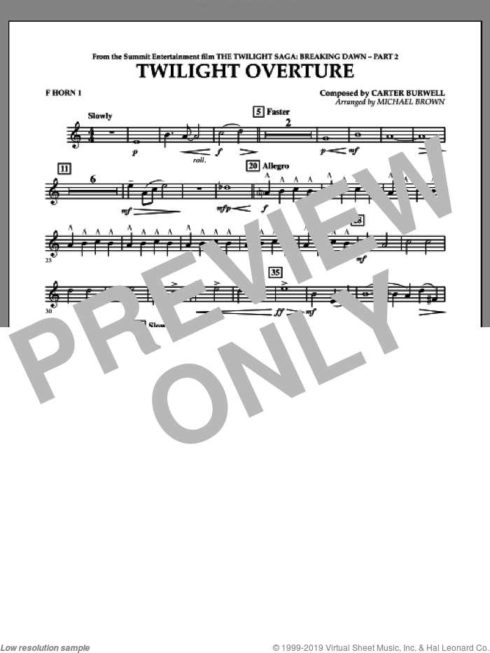 Twilight Overture (from The Twilight Saga: Breaking DawnA�Part 2) sheet music for concert band (f horn 1) by Carter Burwell and Michael Brown, intermediate skill level