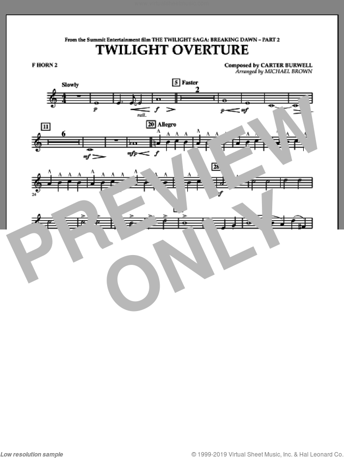 Twilight Overture (from The Twilight Saga: Breaking DawnA�Part 2) sheet music for concert band (f horn 2) by Carter Burwell and Michael Brown, intermediate skill level
