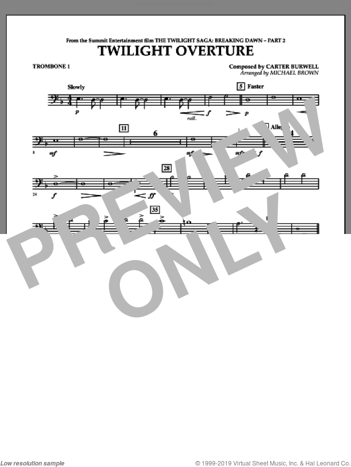 Twilight Overture (from The Twilight Saga: Breaking DawnA�Part 2) sheet music for concert band (trombone 1) by Carter Burwell and Michael Brown, intermediate skill level