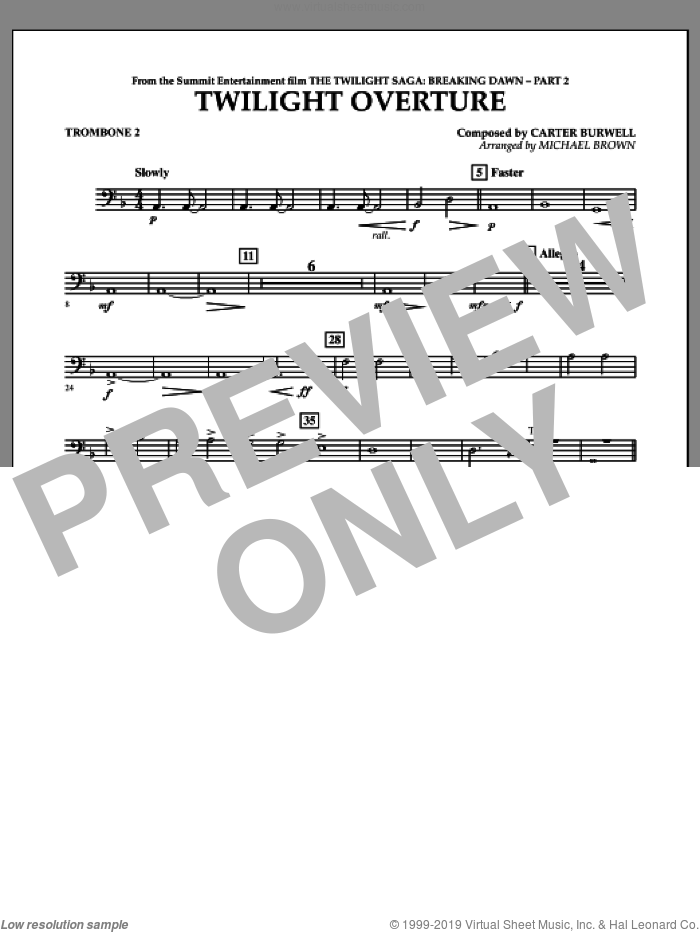 Twilight Overture (from The Twilight Saga: Breaking DawnA�Part 2) sheet music for concert band (trombone 2) by Carter Burwell and Michael Brown, intermediate skill level