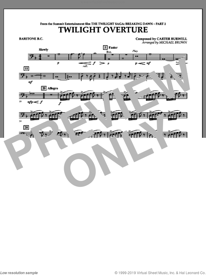 Twilight Overture (from The Twilight Saga: Breaking DawnA�Part 2) sheet music for concert band (baritone b.c.) by Carter Burwell and Michael Brown, intermediate skill level