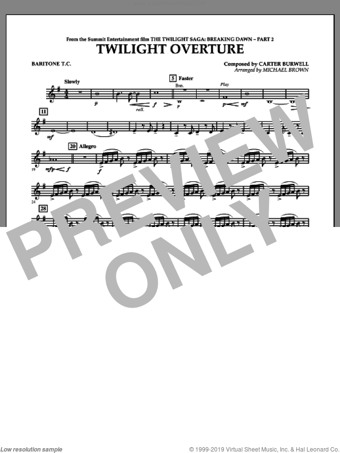 Twilight Overture (from The Twilight Saga: Breaking DawnA�Part 2) sheet music for concert band (baritone t.c.) by Carter Burwell and Michael Brown, intermediate skill level