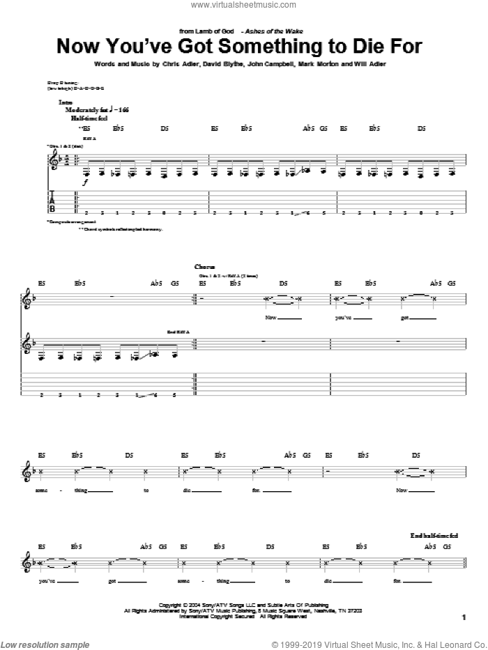 Now You've Got Something To Die For sheet music for guitar (tablature) by Will Adler and Lamb Of God. Score Image Preview.