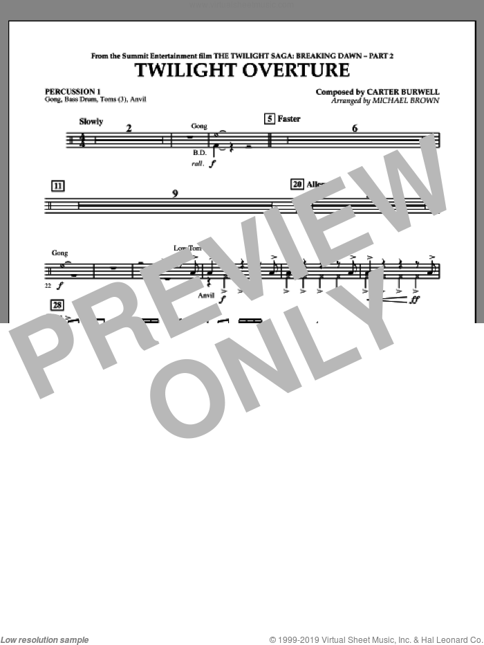 Twilight Overture (from The Twilight Saga: Breaking DawnA�Part 2) sheet music for concert band (percussion 1) by Carter Burwell and Michael Brown, intermediate skill level