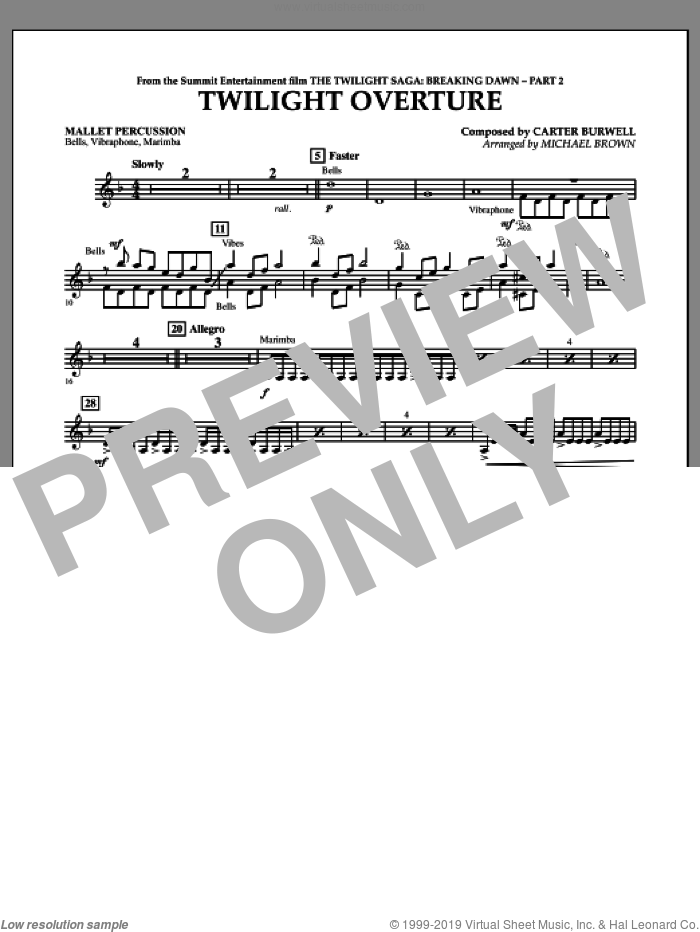 Twilight Overture (from The Twilight Saga: Breaking DawnA�Part 2) sheet music for concert band (mallet percussion) by Carter Burwell and Michael Brown, intermediate skill level