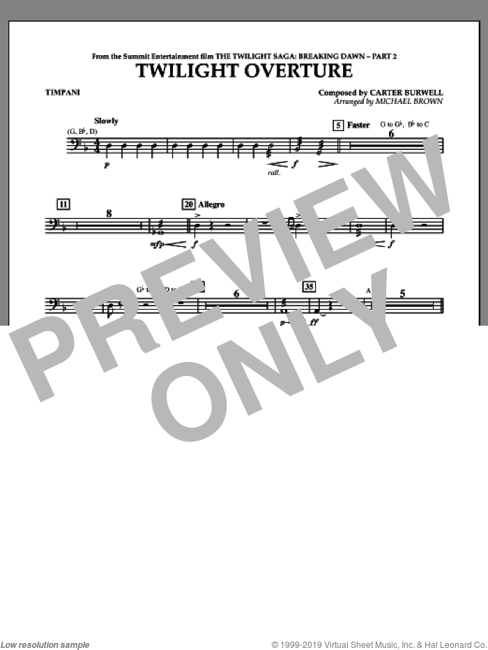 Twilight Overture (from The Twilight Saga: Breaking DawnA�Part 2) sheet music for concert band (timpani) by Carter Burwell and Michael Brown, intermediate skill level