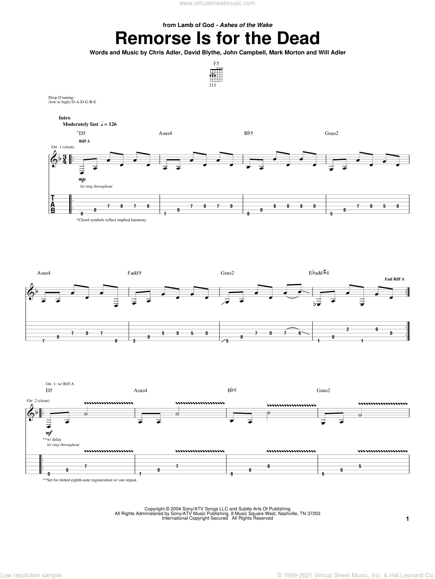 Remorse Is For The Dead sheet music for guitar (tablature) by Will Adler and Lamb Of God. Score Image Preview.