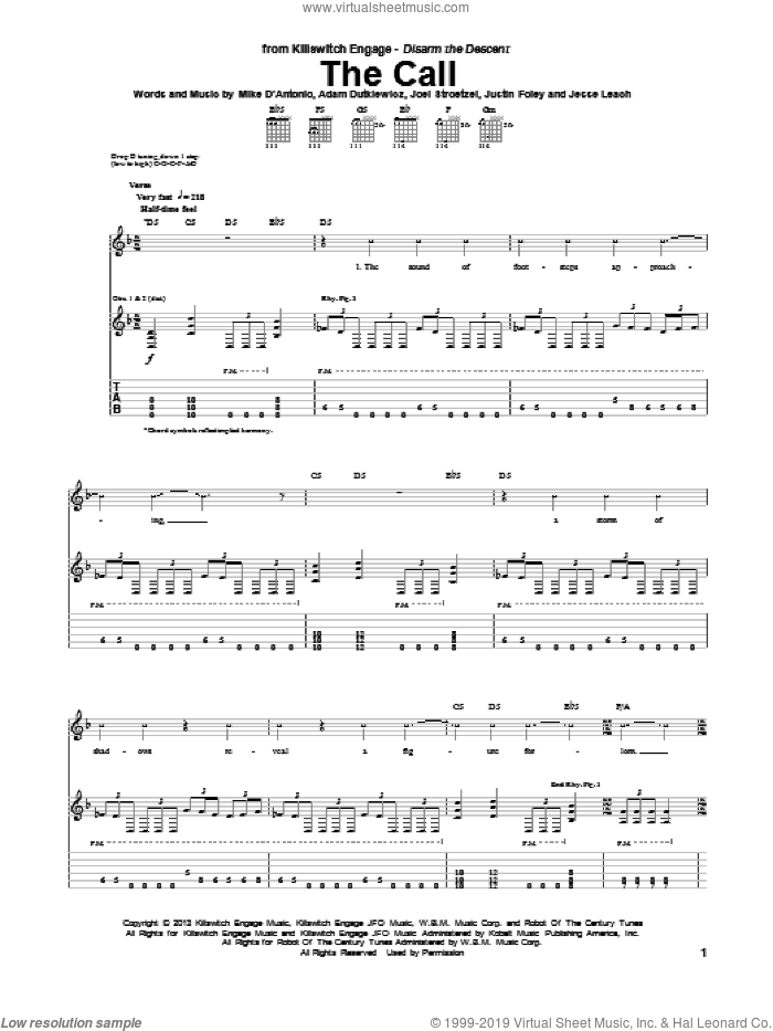 The Call sheet music for guitar (tablature) by Killswitch Engage. Score Image Preview.