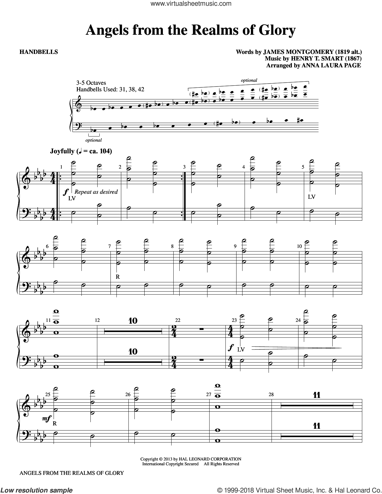 Angels From The Realms Of Glory sheet music for percussions by Anna Laura Page, Henry T. Smart and James Montgomery, intermediate skill level
