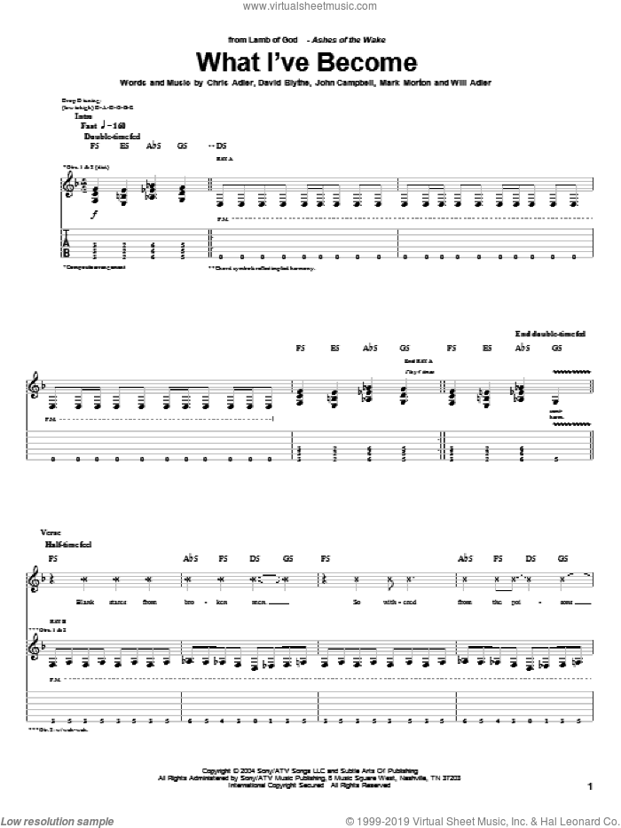 What I've Become sheet music for guitar (tablature) by Lamb Of God, Chris Adler, David Blythe, John Campbell, Mark Morton and Will Adler, intermediate