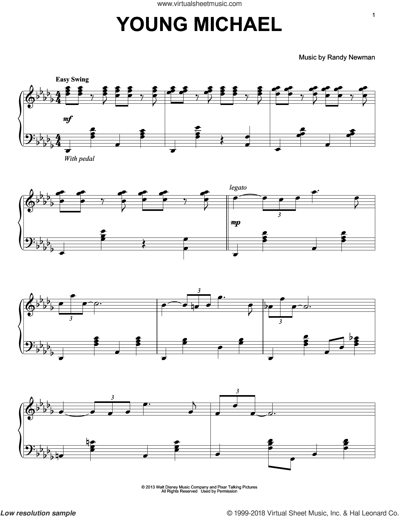 Young Michael sheet music for piano solo by Randy Newman, Monsters University (Movie) and Monsters, Inc. (Movie), intermediate skill level
