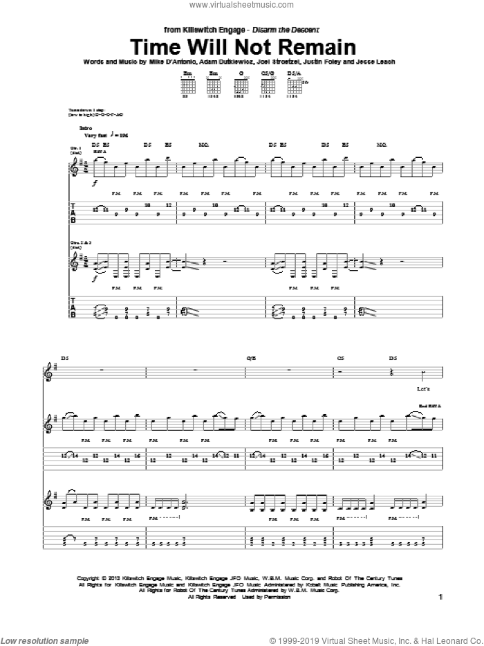 Time Will Not Remain sheet music for guitar (tablature) by Killswitch Engage, intermediate