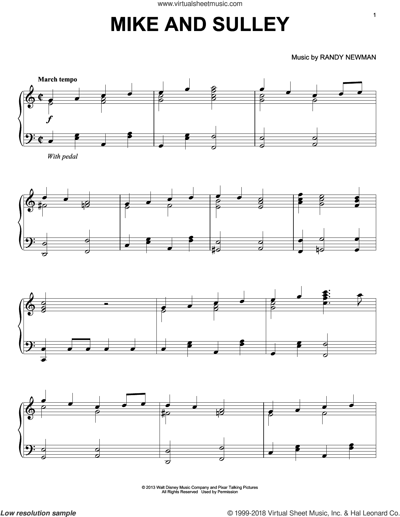 Mike And Sulley sheet music for piano solo by Randy Newman. Score Image Preview.