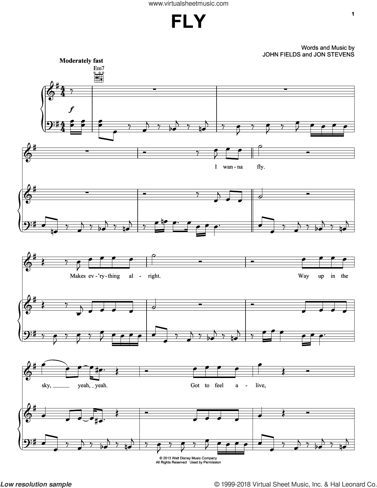 Fly sheet music for voice, piano or guitar by Mark Mancina, John Fields, Jon Stevens and Planes (Movie), intermediate skill level