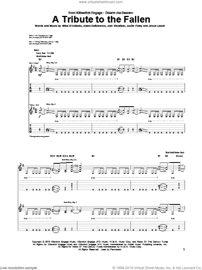 A Tribute To The Fallen sheet music for guitar (tablature) by Killswitch Engage, intermediate. Score Image Preview.
