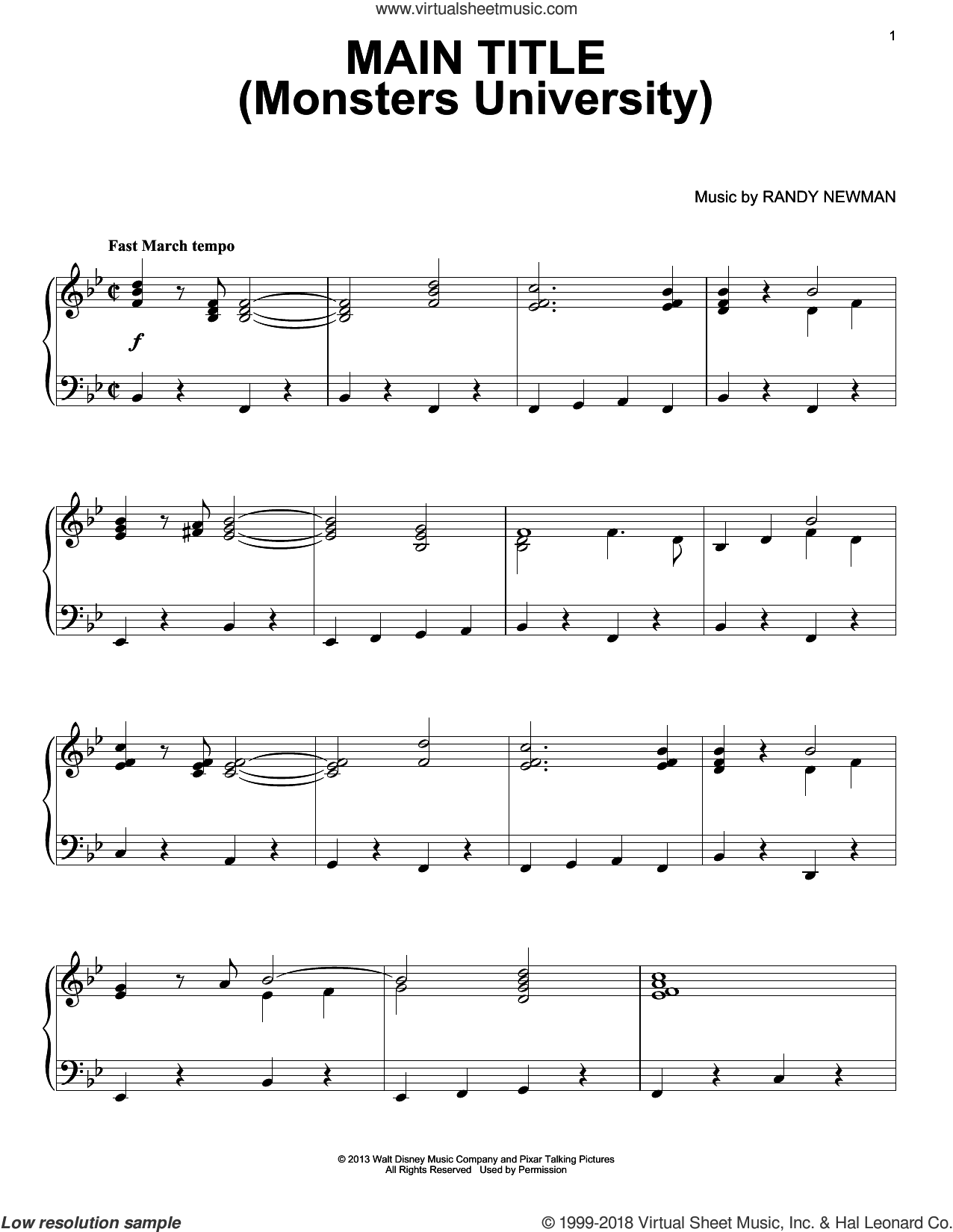 Main Title (Monsters University) sheet music for piano solo by Randy Newman, Monsters University (Movie) and Monsters, Inc. (Movie), intermediate skill level