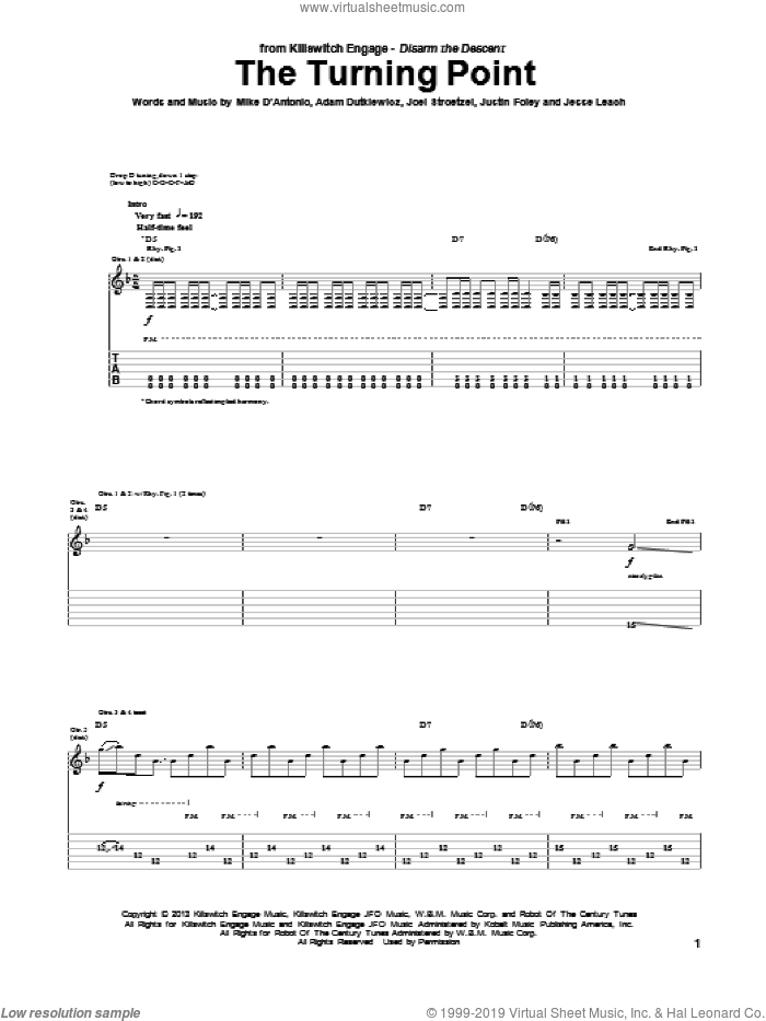 The Turning Point sheet music for guitar (tablature) by Killswitch Engage. Score Image Preview.