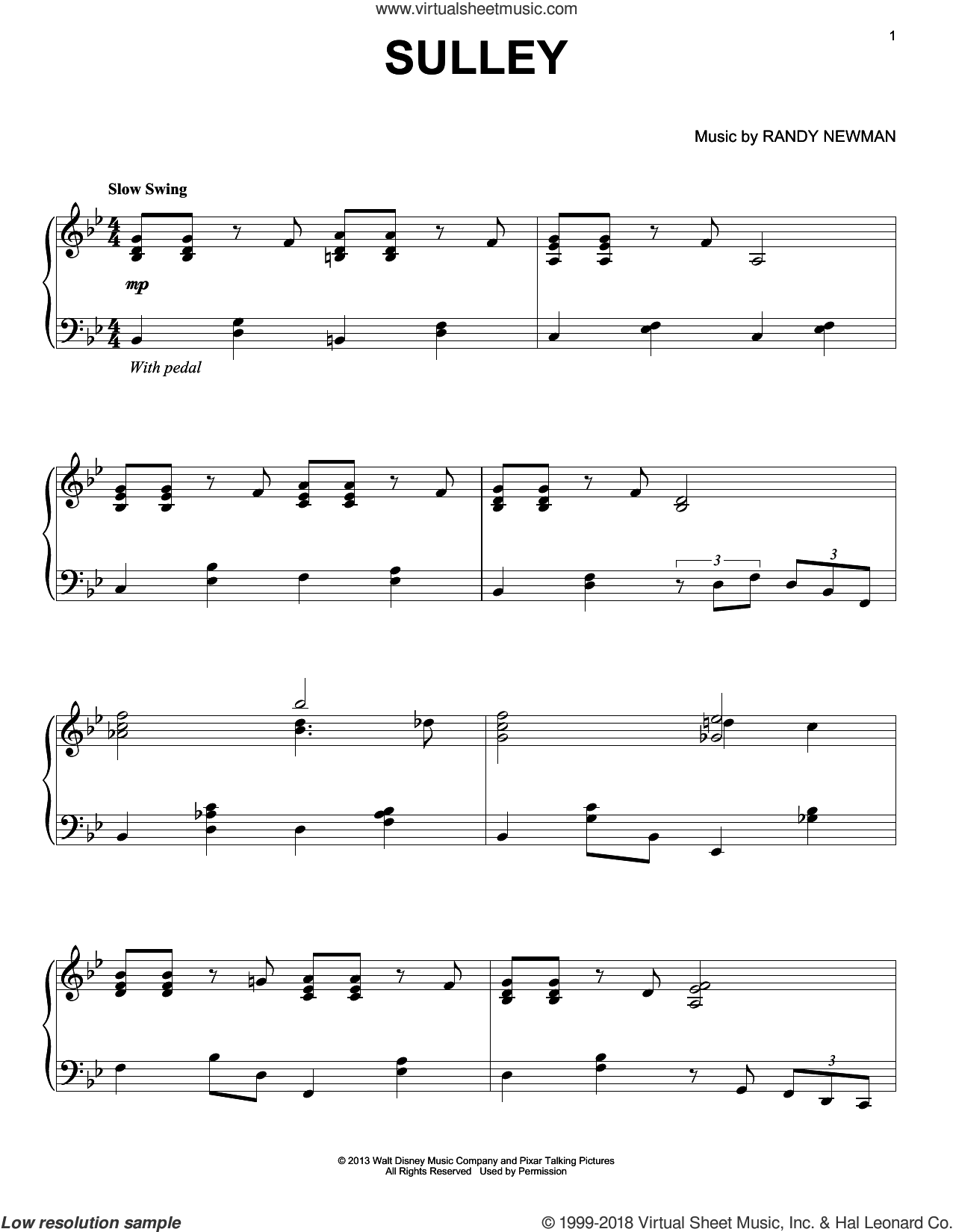 Sulley sheet music for piano solo by Randy Newman, Monsters University (Movie) and Monsters, Inc. (Movie), intermediate skill level