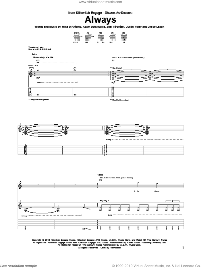 Always sheet music for guitar (tablature) by Killswitch Engage, intermediate