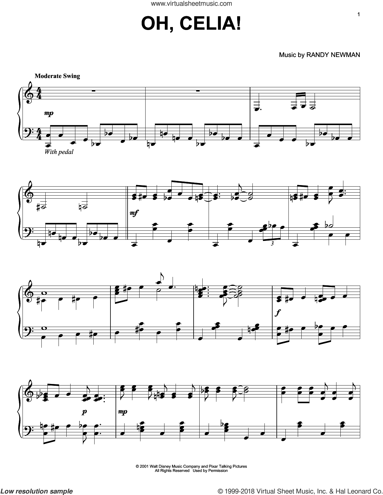 Oh, Celia! sheet music for piano solo by Randy Newman, Monsters University (Movie) and Monsters, Inc. (Movie), intermediate skill level