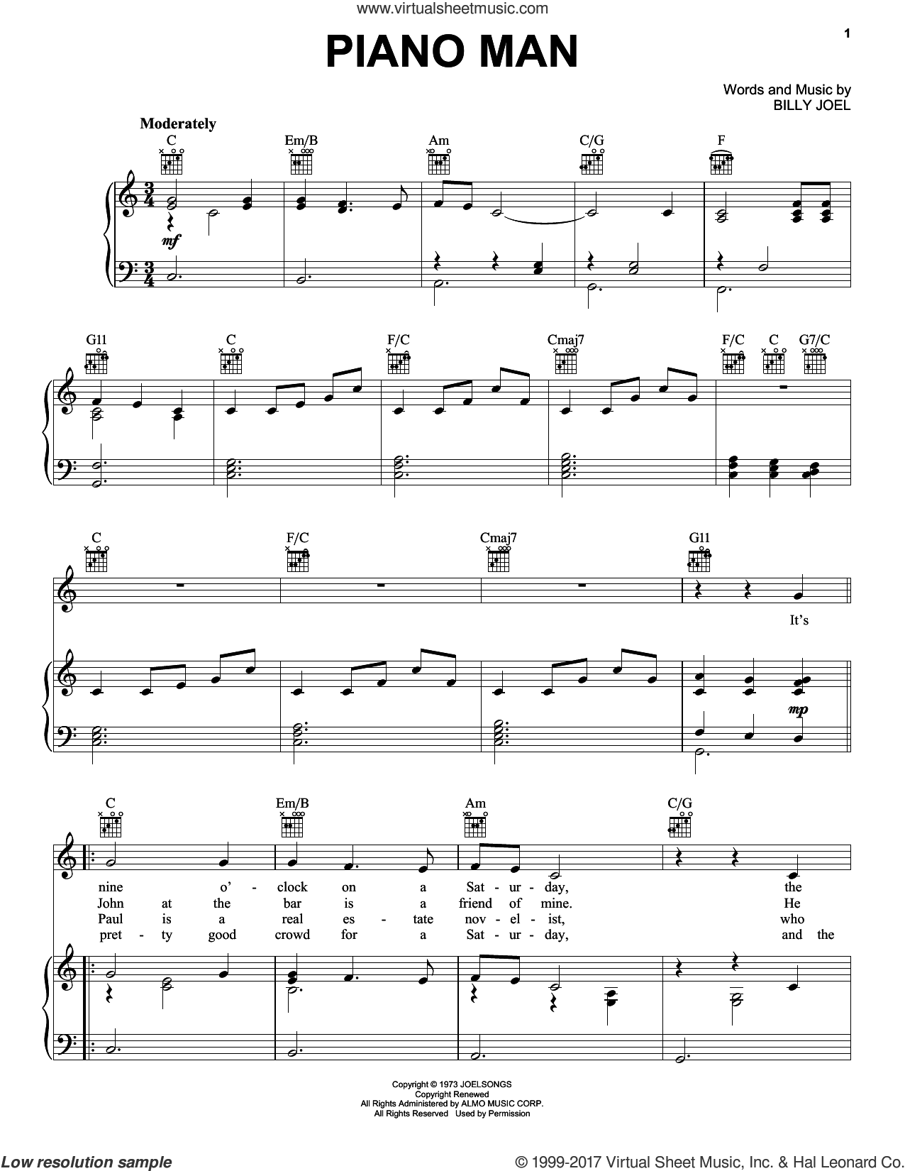 Billy Joel Classics (complete set of parts) sheet music for voice, piano or guitar by Billy Joel, Carmen McRae and Mel Torme, intermediate. Score Image Preview.