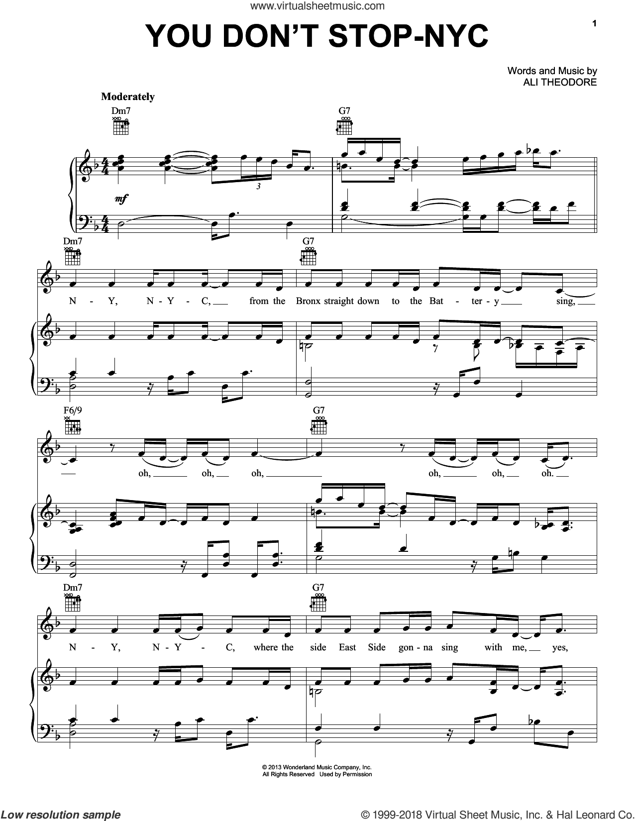 You Don't Stop-NYC sheet music for voice, piano or guitar by Mark Mancina, Ali Theodore and Planes (Movie), intermediate skill level