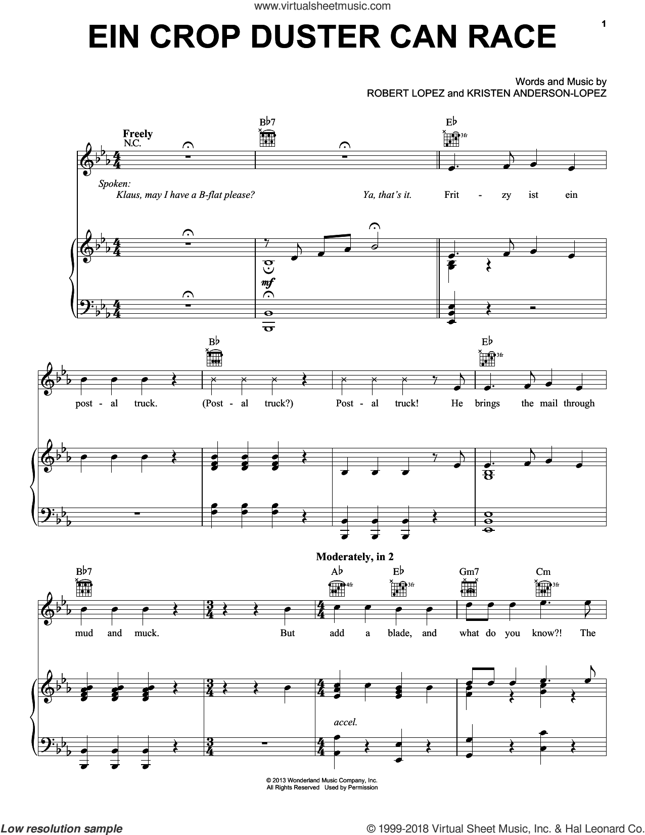 Ein Crop Duster Can Race sheet music for voice, piano or guitar by Robert Lopez, Kristen Anderson-Lopez and Mark Mancina. Score Image Preview.