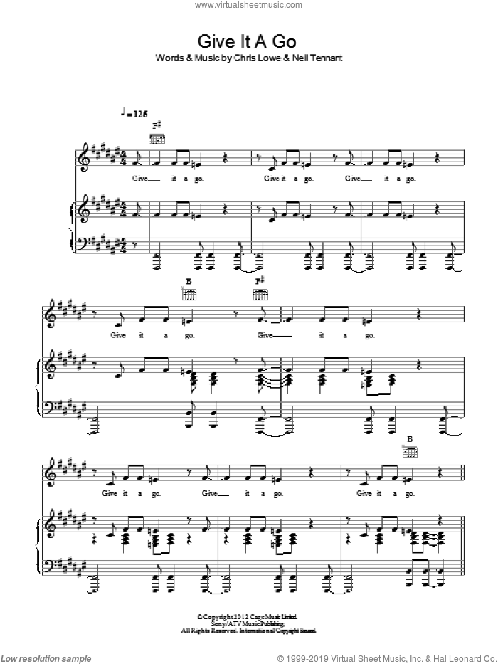 Give It A Go sheet music for voice, piano or guitar by Neil Tennant and Pet Shop Boys. Score Image Preview.