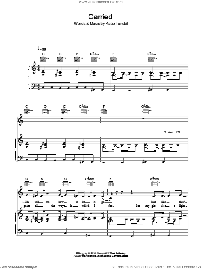 Carried sheet music for voice, piano or guitar by KT Tunstall, intermediate voice, piano or guitar. Score Image Preview.