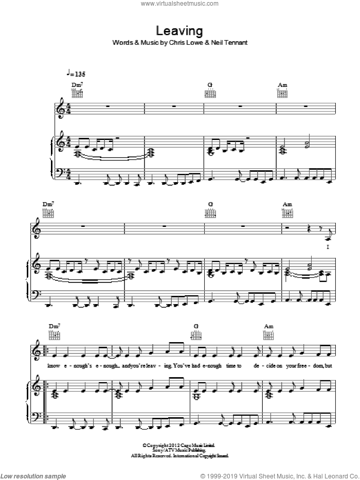 Leaving sheet music for voice, piano or guitar by Pet Shop Boys, Chris Lowe and Neil Tennant, intermediate skill level