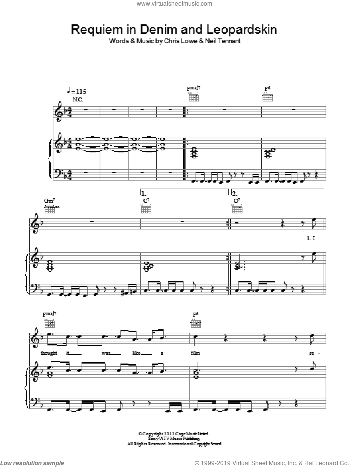 Requiem In Denim And Leopardskin sheet music for voice, piano or guitar by Pet Shop Boys, Chris Lowe and Neil Tennant, intermediate skill level