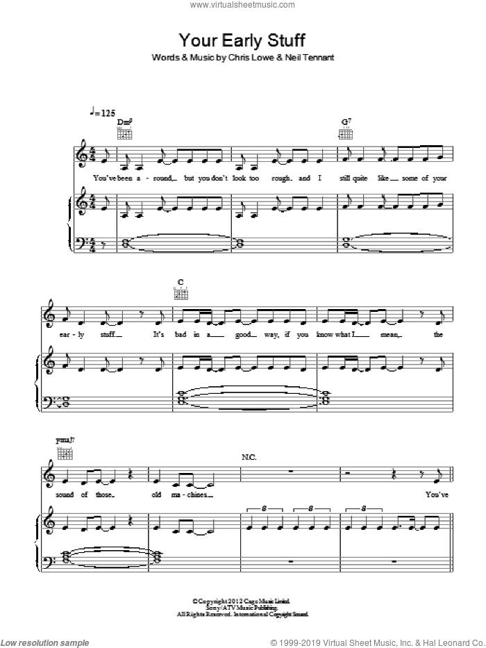 Your Early Stuff sheet music for voice, piano or guitar by Neil Tennant and Pet Shop Boys. Score Image Preview.
