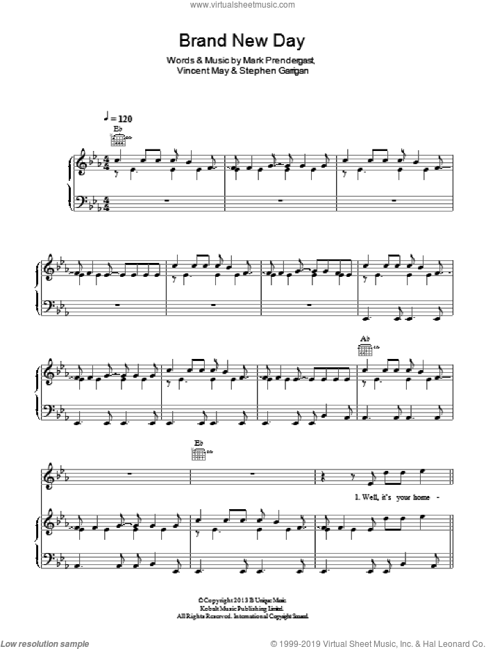 Brand New Day sheet music for voice, piano or guitar by Kodaline, Mark Prendergast, Stephen Garrigan and Vincent May, intermediate