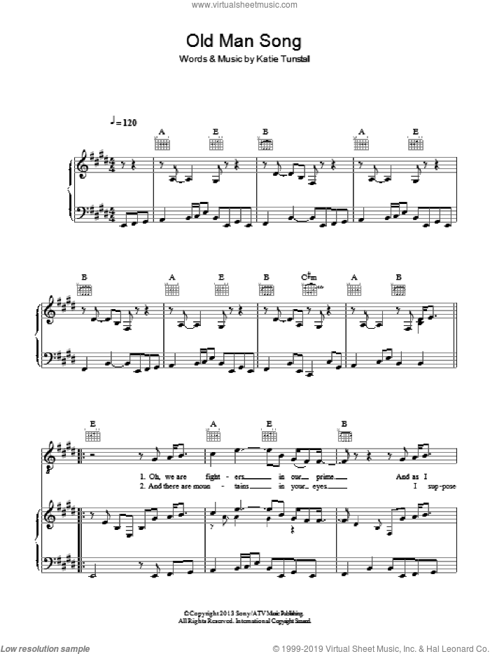 Old Man Song sheet music for voice, piano or guitar by KT Tunstall, intermediate skill level