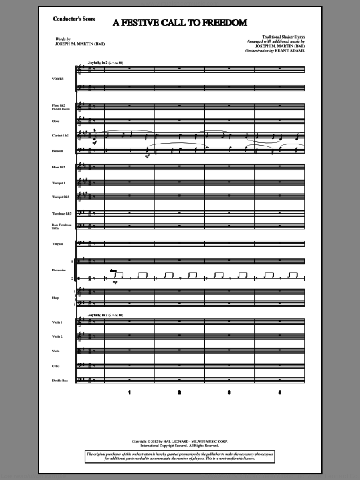 A Festive Call to Freedom sheet music for orchestra/band (score) by Joseph M. Martin