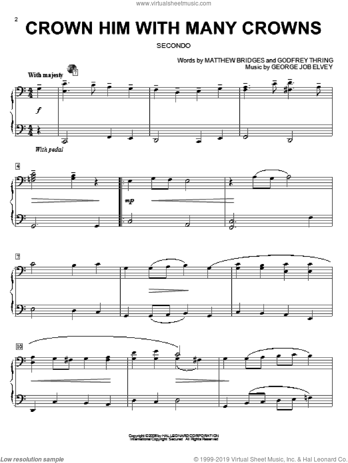 Crown Him With Many Crowns sheet music for piano four hands (duets) by Godfrey Thring